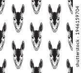 cute donkey head seamless... | Shutterstock .eps vector #1946159704