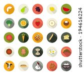set of flat food icons.... | Shutterstock .eps vector #194616224