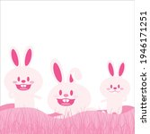 Easter Card With Cute Bunnies...