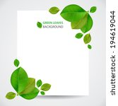 sheet of paper with green leaves | Shutterstock .eps vector #194619044