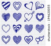 hand drawn set of heart icons... | Shutterstock .eps vector #194620055