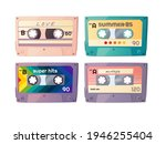 retro audio cassettes set.... | Shutterstock .eps vector #1946255404