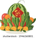 decorative handwriting on red...   Shutterstock .eps vector #1946260801