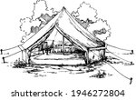 hand drawn tourist camping tent ...   Shutterstock .eps vector #1946272804