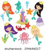mermaids vector illustration | Shutterstock .eps vector #194646017