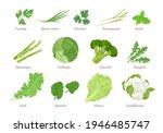 set of green vegetables  salad... | Shutterstock .eps vector #1946485747