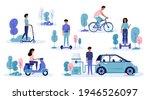 men and women drive eco city... | Shutterstock .eps vector #1946526097