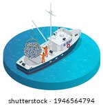 Isometric Shipping Seafood...