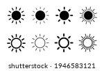 sun icon set. brightness icon...