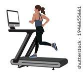 woman doing peloton workout... | Shutterstock .eps vector #1946655661