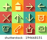 set of ui flat icon with long...