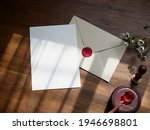 envelope back side with red wax ... | Shutterstock . vector #1946698801