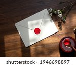 envelope back side with red wax ... | Shutterstock . vector #1946698897