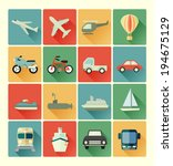 vehicle icons set - stock vector