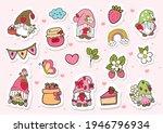 strawberry gnomes sticker ... | Shutterstock .eps vector #1946796934