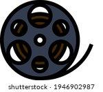 movie reel icon. editable bold...