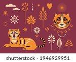 tiger illustration and decor... | Shutterstock .eps vector #1946929951