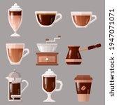 coffee icon set vector... | Shutterstock .eps vector #1947071071