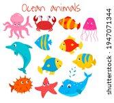 cute sea animal set  vector... | Shutterstock .eps vector #1947071344