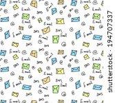 seamless pattern letter  sms  e ... | Shutterstock . vector #194707337