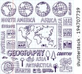geography. hand drawn. vector... | Shutterstock .eps vector #194707739