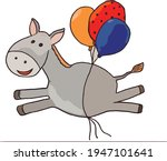 Gray Donkey Flies On Colorful...