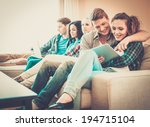 group of students with tablet... | Shutterstock . vector #194715104