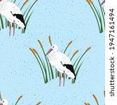 white stork standing in water... | Shutterstock .eps vector #1947161494