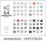 64 communication icons set... | Shutterstock .eps vector #1947278131