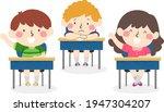 illustration of kids raising... | Shutterstock .eps vector #1947304207