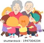 illustration of kids hugging... | Shutterstock .eps vector #1947304234