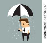 unlucky businessman being wet... | Shutterstock .eps vector #194733047