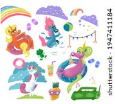 set of unicorns and fantastic... | Shutterstock .eps vector #1947411184