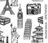 sketch eiffel tower  pisa tower ... | Shutterstock .eps vector #194745455