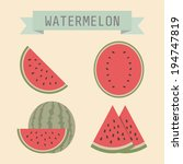 set of watermelon with sign ... | Shutterstock .eps vector #194747819
