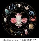 capricorn vector and flower of...   Shutterstock .eps vector #1947531187