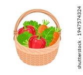 basket with fresh vegetables... | Shutterstock .eps vector #1947574324