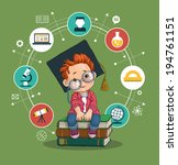 smart boy with glasses and... | Shutterstock .eps vector #194761151