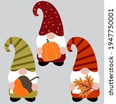 set of cute autumn gnomes ... | Shutterstock .eps vector #1947750001