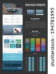 One page website design template. All in one set for website design that includes one page website templates, set of line icons, iconic buttons, light buttons, video players, flat illustrations.