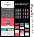 One page website design template. All in one set for website design that includes one page website template, set of flat buttons, ux/ui kit for website design, flat design concept illustrations.