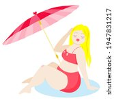 Woman In Pink Swimsuit With...