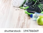 pair of sport shoes and fitness ... | Shutterstock . vector #194786069