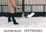 Woman Shovels Snow In The Yard...