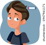 tired exhausted teen boy with... | Shutterstock .eps vector #1947961171