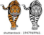 angry roaring tiger. front... | Shutterstock .eps vector #1947969961