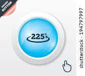 angle 225 degrees sign icon....