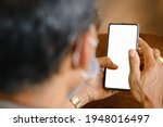 man holding phone with mockup...