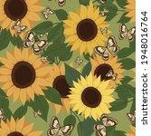 Sunflower And Butterflies...