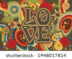 60's floral pattern  absract... | Shutterstock .eps vector #1948017814